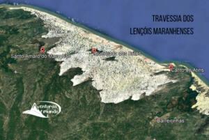 Mapa da travessia dos lençóis maranhenses